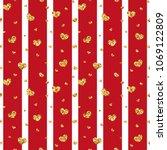 gold heart seamless pattern.... | Shutterstock .eps vector #1069122809