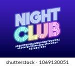 vector neon glowing emblem... | Shutterstock .eps vector #1069130051