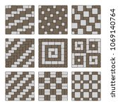 set of street pavement blocks.... | Shutterstock .eps vector #1069140764