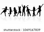 childrens black silhouettes. | Shutterstock .eps vector #1069167839
