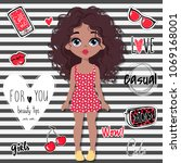cute vector girl and... | Shutterstock .eps vector #1069168001