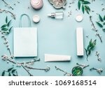 beauty concept with facial... | Shutterstock . vector #1069168514