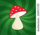 Funny Cartoon Red Mushroom On...