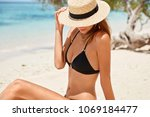 outdoor shot of slim female... | Shutterstock . vector #1069184477