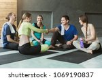 young people sitting in circle...   Shutterstock . vector #1069190837