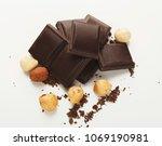 pieces of dark chocolate bar... | Shutterstock . vector #1069190981
