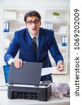 businessman angry at copying... | Shutterstock . vector #1069202009