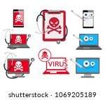 set of different cyber virus... | Shutterstock .eps vector #1069205189