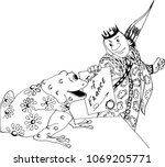 the prince and the frog.... | Shutterstock .eps vector #1069205771