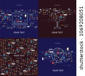 technology backgrounds set... | Shutterstock .eps vector #1069208051