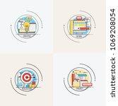 goal busines concept arrow hit... | Shutterstock .eps vector #1069208054