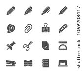 stationery icon set | Shutterstock .eps vector #1069208417