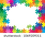 colorful jigsaw puzzles and... | Shutterstock .eps vector #1069209311