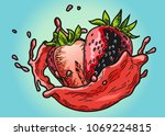 strawberry with juice splashing.... | Shutterstock .eps vector #1069224815