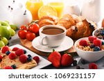 breakfast served with coffee ... | Shutterstock . vector #1069231157