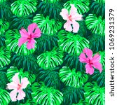 seamless tropical hand drawn... | Shutterstock .eps vector #1069231379