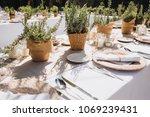 on festive table in wedding... | Shutterstock . vector #1069239431