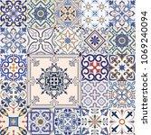 big set of tiles background in... | Shutterstock . vector #1069240094