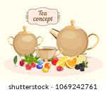 vector color image of tea pot... | Shutterstock .eps vector #1069242761