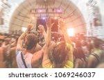 happy friends having fun in... | Shutterstock . vector #1069246037