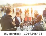 group of young people making a... | Shutterstock . vector #1069246475