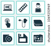 digital icons set with man with ... | Shutterstock .eps vector #1069253969