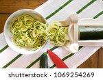 spiral zucchini noodles called... | Shutterstock . vector #1069254269