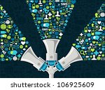 three megaphones throwing... | Shutterstock . vector #106925609