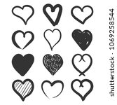 set of the hand drawn hearts... | Shutterstock .eps vector #1069258544