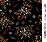 seamless pattern. dead head... | Shutterstock .eps vector #1069263989