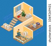 isometric interior repairs... | Shutterstock .eps vector #1069269431