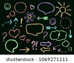 chalk or crayon hand drawing... | Shutterstock .eps vector #1069271111