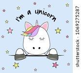 cute fantasy head unicorn.... | Shutterstock .eps vector #1069275287