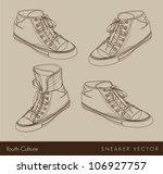 tennis silhouette on beige...   Shutterstock .eps vector #106927757