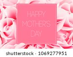pink greeting card of roses... | Shutterstock . vector #1069277951