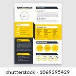 creative cv   resume template... | Shutterstock .eps vector #1069295429