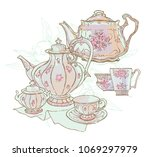 Vintage Tea Set Service Vector...