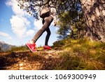 low angle view of female hiker... | Shutterstock . vector #1069300949