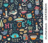 time to hygge. hand drawn... | Shutterstock .eps vector #1069308044