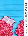 dainty baby girl summer clothes.... | Shutterstock . vector #1069308689