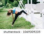 fitness sport girl in fashion... | Shutterstock . vector #1069309235