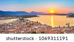 sunset on poros island in... | Shutterstock . vector #1069311191