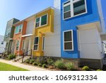 colorful row homes in austin ... | Shutterstock . vector #1069312334