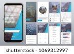 social media mockups  ... | Shutterstock .eps vector #1069312997