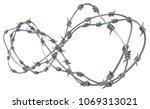 barbed wire infinite ring  grey ... | Shutterstock . vector #1069313021