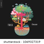 tree house concept   a tree...   Shutterstock .eps vector #1069327319