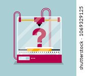 3d printing a question mark...   Shutterstock .eps vector #1069329125