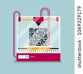 3d printing a qr code symbol ...   Shutterstock .eps vector #1069329179