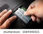 men's hand carved computer... | Shutterstock . vector #1069340321