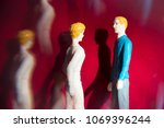 toy  miniature man and woman in ... | Shutterstock . vector #1069396244